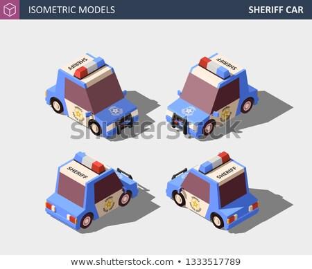 Isometrische Blauw sheriff auto hoog kwaliteit Stockfoto © tashatuvango
