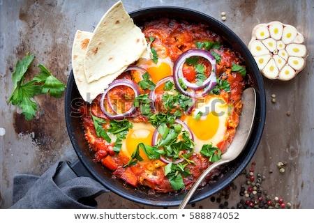 フライド 卵 朝食 トマト 具体的な ストックフォト © YuliyaGontar