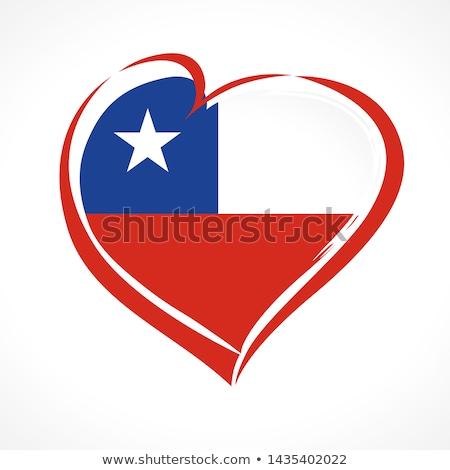 Stok fotoğraf: Bayrak · Şili · kalp · şekli · örnek · dizayn · arka · plan