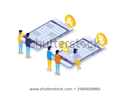 Isometric flat vector concept of AB testing, split test, A-B comparison. Stock photo © TarikVision