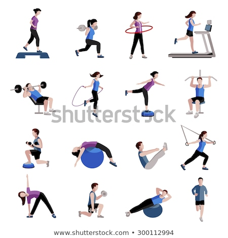 Website Cardio Training of Women, Fitness Vector ストックフォト © robuart