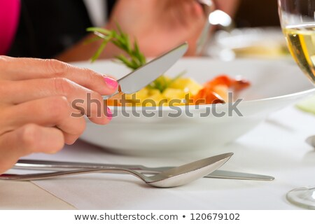 People fine dining seafood and white wine  Stock photo © dashapetrenko