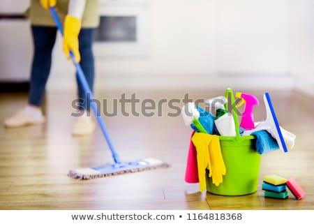 чистящие · средства · инструменты · полу · гостиной - Сток-фото © andreypopov