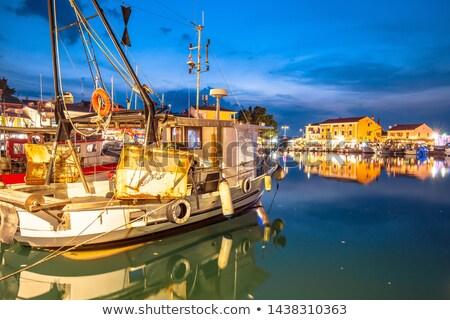 Novigrad Istarski harbor and fishing fleet evening view stock photo © xbrchx