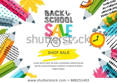 Back to school Sale horizontal banner, doodle background, vector illustration. Stock photo © ikopylov