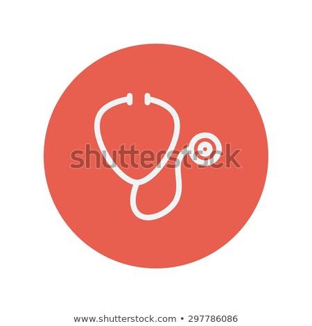 stetoscope icon in circle medical symbol thin line icon for web and mobile minimalistic flat design stock photo © kyryloff
