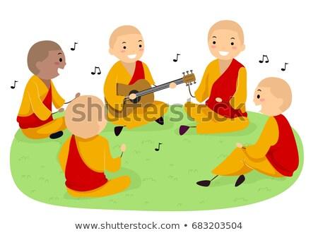 buddhista · férfi · imádkozik · templom · istentisztelet · egyedül - stock fotó © lenm