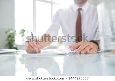 Elegant contemporary businessman making working notes in copybook Stock photo © pressmaster
