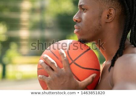 Foto stock: Vista · lateral · jovem · multicultural · sem · camisa · bola