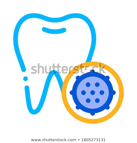 bacteria germ and tooth vector thin line sign icon stock photo © pikepicture