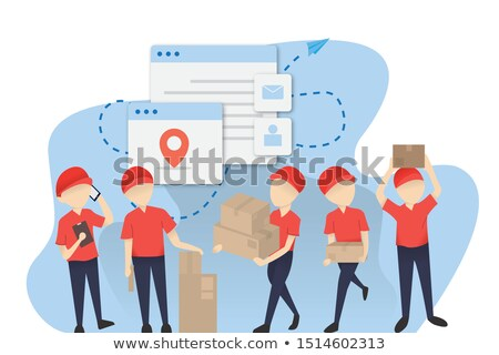PARCEL Colourful Banner with Postman Character Set Stock photo © robuart