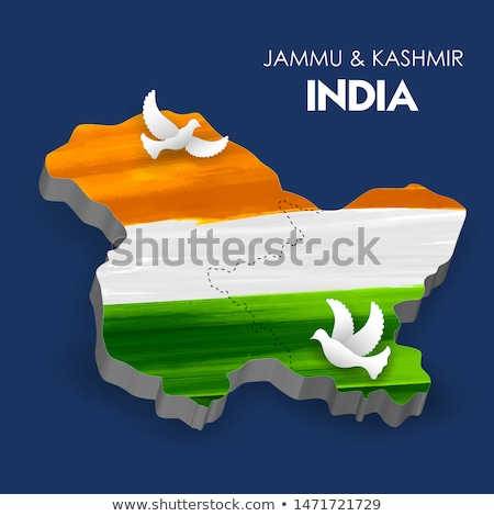 map of union territory jammu kashmir and ladakh of india with tricolor indian flag stock photo © vectomart