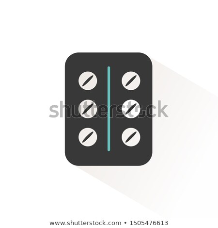 Pack of pills. Flat icon with beige shade. Pharmacy and medicine vector illustration Stock photo © Imaagio