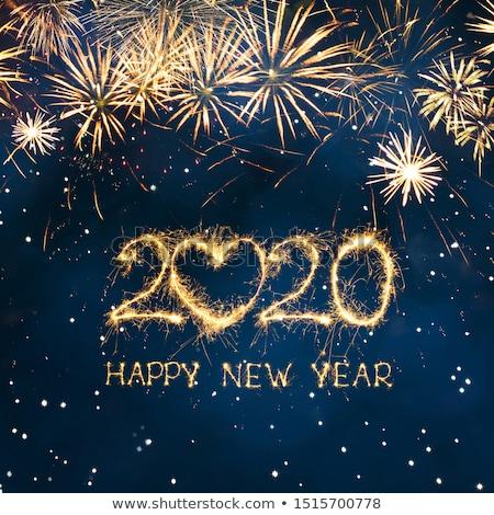 Glückliches neues Jahr schönen golden Design Kalender Winter Stock foto © SArts
