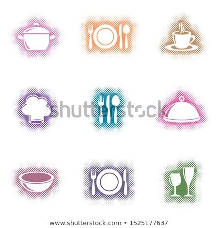 Creative vector eatery menu icons halftone design Stock photo © blumer1979