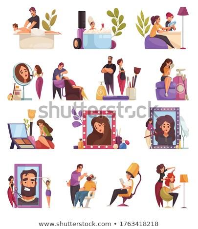 Saç ayarlamak vektör çalışma posterler Stok fotoğraf © robuart