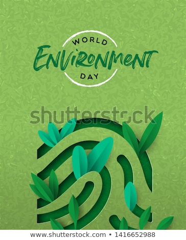 Environment Day card of green leaf finger print Stock photo © cienpies