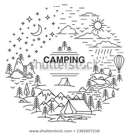 Toerisme camping lijn ontwerp stijl banners Stockfoto © Decorwithme