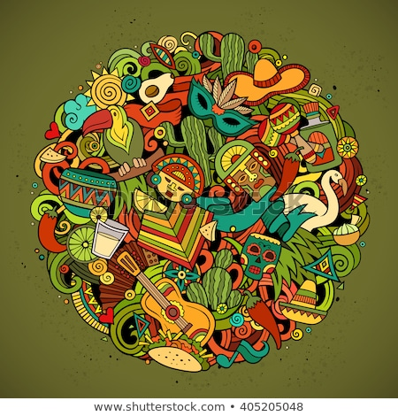 Cartoon round doodles Latin America illustration Stock photo © balabolka