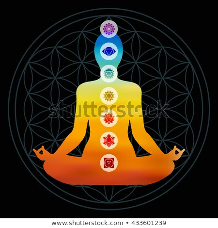 woman in lotus pose doing yoga with seven chakras Stock photo © dolgachov