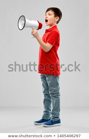 little boy in red polo shouting to megaphone Stock photo © dolgachov