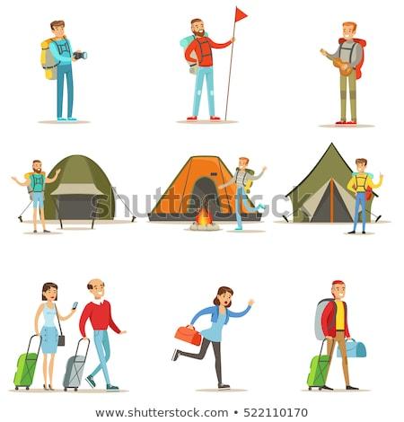 Camping man vrouw park mensen vreugdevuur Stockfoto © robuart