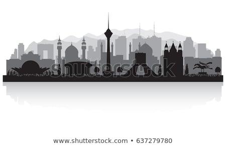 Teherán városkép feketefehér sziluett egyszerű turizmus Stock fotó © ShustrikS