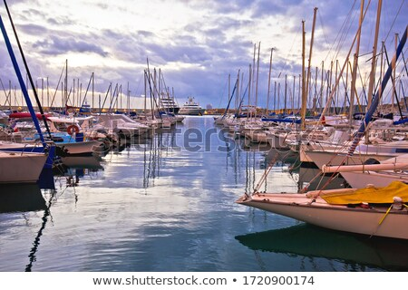 French riviera. Port Vauban harbor in Antibes colorful dusk view Stock photo © xbrchx