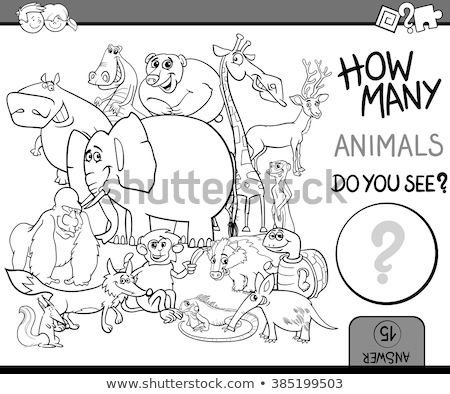 counting animals educational task coloring book page Stock photo © izakowski