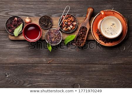 Bitkisel çaylar espresso kahve ahşap masa üst Stok fotoğraf © karandaev