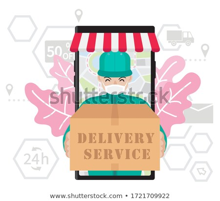 Deliver or courier man in red uniform cartoon character in smart Stock photo © bluering