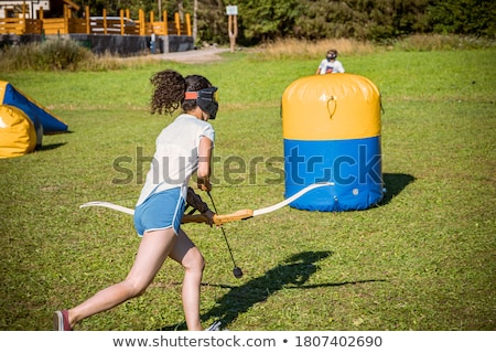 Stock fotó: íjászat · közelkép · gyermek · hát · képzés · tanul