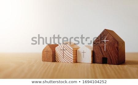 Kilise evler görmek Bina kentsel ibadet Stok fotoğraf © fxegs