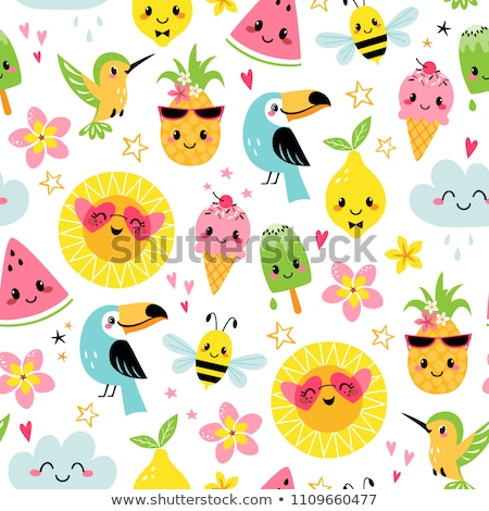 vogels · liefde · grafisch · ontwerp · kleurrijk · bloemen - stockfoto © ekapanova