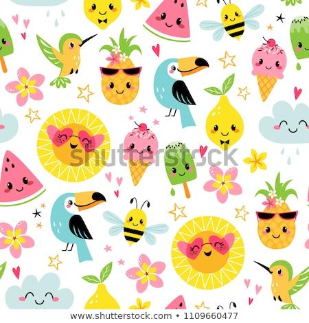 seamless pattern with cute birds hearts and flowers stock photo © ekapanova