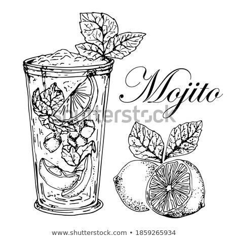 Vers cocktail bevroren glas half kalk Stockfoto © Raduntsev