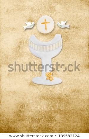 vertical · tarjeta · primera · comunión · feliz · ninos · pergamino - foto stock © marimorena