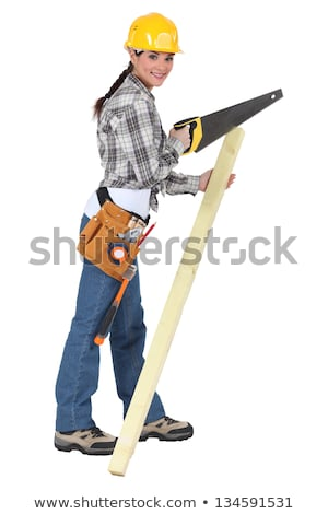 woman with a hardhat and handsaw stock photo © photography33