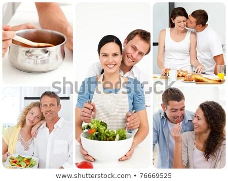 モンタージュ カップル 料理 女性 幸せ ノートパソコン ストックフォト © photography33
