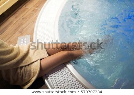 Femme jacuzzi souriant fille champagne verre Photo stock © grafvision