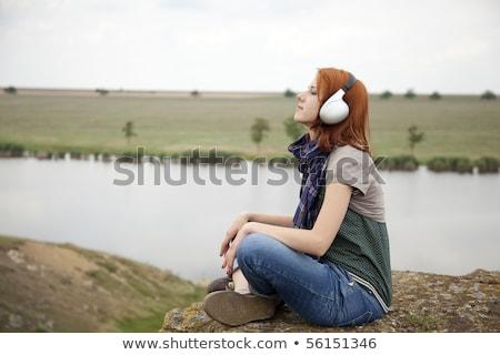 fiatal · divat · lány · fejhallgató · fű · tó - stock fotó © massonforstock