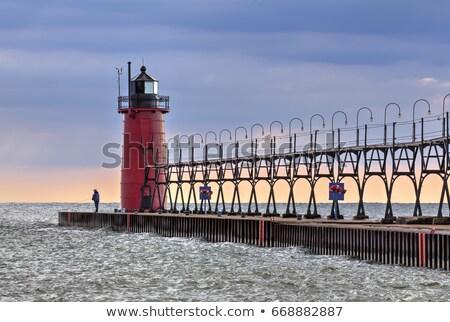 dél · kikötő · világítótorony · naplemente · fény · Michigan - stock fotó © Kenneth_Keifer