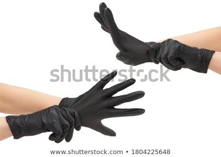 Pormenor mulher látex preto sapato sozinho Foto stock © phbcz