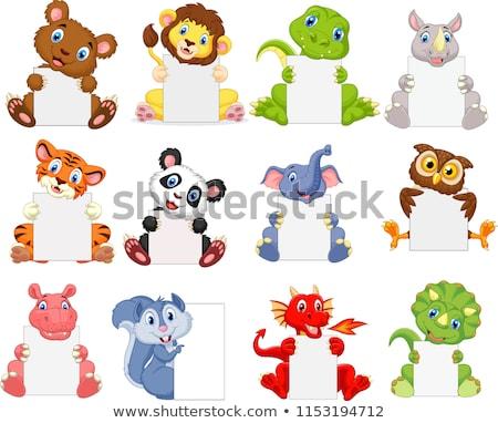 Elefánt üres tábla papír boldog vicces dzsungel Stock fotó © dagadu