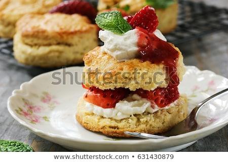 Eper kép adag tálca étel gyümölcs Stock fotó © gregory21