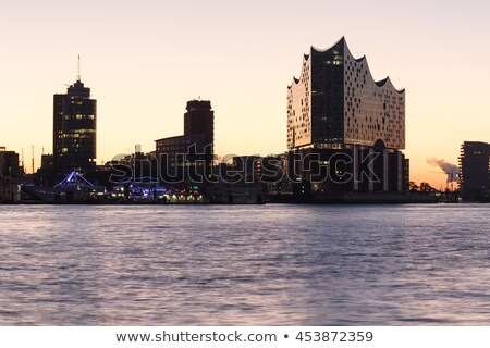 Гамбург крана назад свет здании город Сток-фото © CarmenSteiner