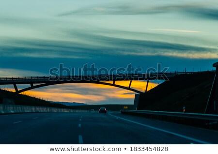 puesta · de · sol · hermosa · largo · playa · cielo · paisaje - foto stock © garethweeks