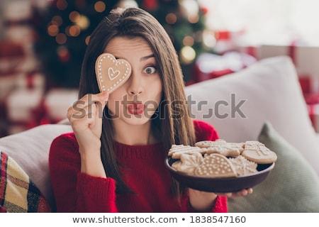 Lány édesség gyönyörű lány arc kéz szexi Stock fotó © ssuaphoto
