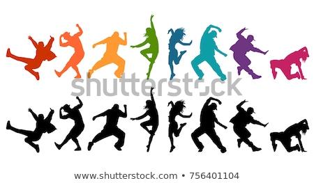 Meisjes dansen silhouetten menigte club leuk Stockfoto © koqcreative