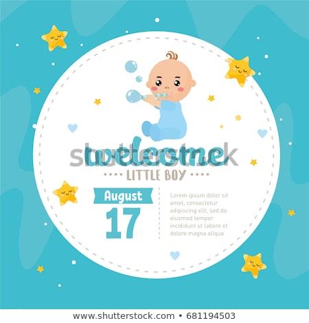 grappig · baby · jongen · aankondiging · kaart · meisje - stockfoto © balasoiu